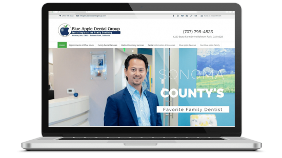 Blue Apple Dental Group Website Design, SEO, Google Search & Display Ads Blue Apple Dental Group is a dental office in California providing medical dentistry such as implants and facial reconstruction as well as all of the services you'd expect to see in a dental practice.